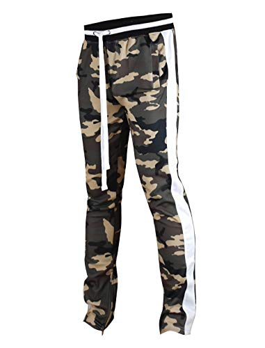 SCREENSHOTBRAND-P41902 Mens Hip Hop Premium Slim Fit Track Pants - Athletic Jogger Camo Pattern Print Taping Bottoms-Woodland-XLarge