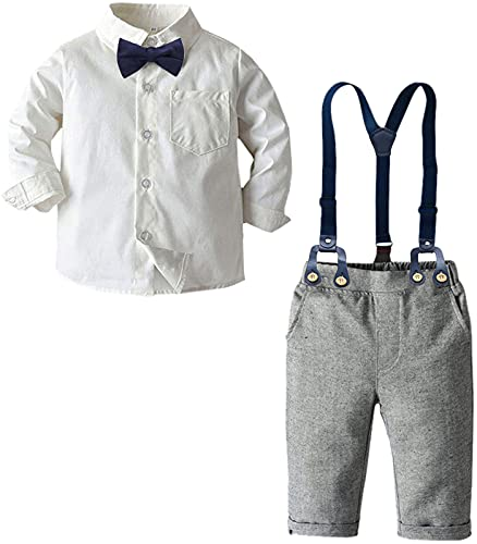 Baby Boys Clothes, Long Sleeves Dress Shirt Dress Shirt and Suspender Pants Set Tuxedo Gentlemen Outfit with Bow Tie for Newborn Toddlers Baby Boys, Gray, Tag 90 = 18-24 Months