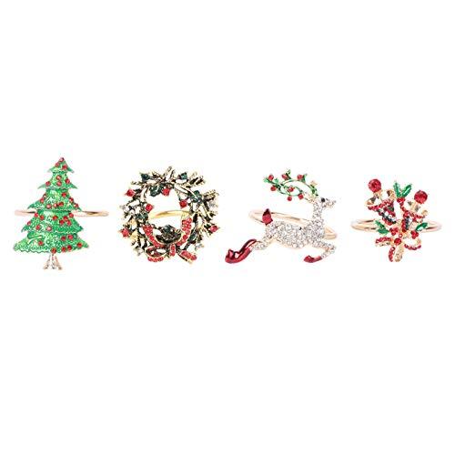 PRETYZOOM 4 Stück Weihnachten Serviettenringe Metall Strass Weihnachtsbaum Kranz Glocken Rentier Serviettenhalter Serviette Schnalle Halter für Hochzeit Weihnachten Taufe Party Tischdekoration