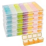 Belle Vous Set Caja para Abalorios de Plástico con 28 Contenedores Organizador Multicolor (Pack de 5) Envases para Cosmetica, Pintura de Puntos, Bordado, Joyas, Nail Art, Cuentas Manualidades