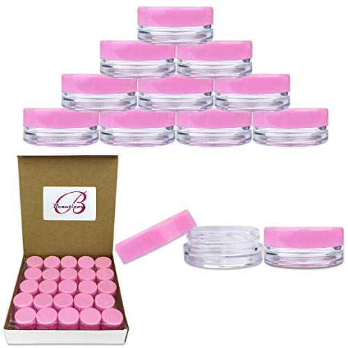 Beauticom 3G 3ML Round Clear Jars with Pink Lids for Cosmetics, Medication, Lab and Field Research Samples, Beauty and Health Aids - BPA Free (Quantity: 50 Pieces)
