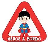 Haberdashery Online Pegatina Adhesiva Bebé a Bordo. Adhesivo vinilo para coche o moto. 15 x 13'7 cm. (26. Superman)