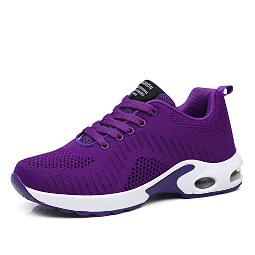 Dannto Zapatos Deporte Mujer Zapatillas Deportivas Correr Gimnasio Casual Zapatos para Caminar Mesh Running Transpirable Aumentar Más Altos Sneakers (Morado-B,37)