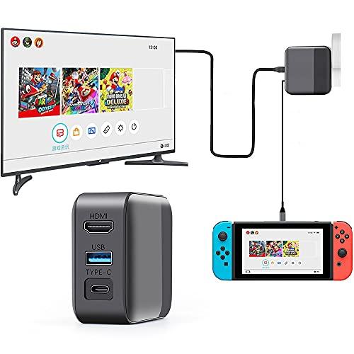 Switch Dock Cargador Adaptador para Nintendo Switch, Switch Dock de repuesto portátil, Adaptador de CA 2 en 1 y Funciones de TV Dock con cable de alimentación tipo C para Switch Phone Laptop y más