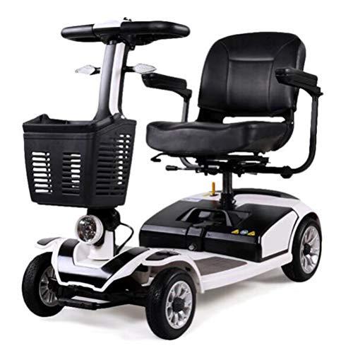 YOLL Scooter Elettrico per Disabili E Anziani di Piccole,Pieghevole Leggero Monopattino Elettrico 180w,4 Ruote,Due Posti,e Scooter Elettrico 6 Km/h,elektromobil a/Silver