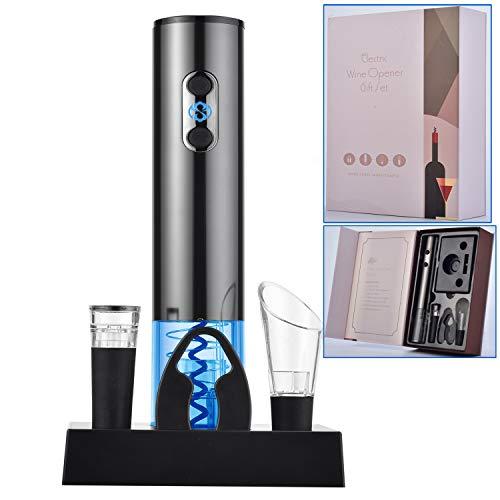 YUDOXN Tire Bouchon électrique, Ouvre-vin automatique professionnel,avec câble de charge USB et base, coupe-capsule, verseur, bouchon en silicone sous vide, boîte cadeau.
