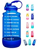 Elvira Half Gallon/64oz Motivational Time Marker Water Bottle with Straw & Protective Silicone Boot, BPA Free Anti-slip Leakproof for Fitness, Gym and Outdoor Sports-64oz-Light Blue