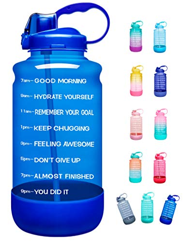 Elvira Half Gallon/64oz Motivational Time Marker Water Bottle with Straw amp Protective Silicone Boot BPA Free Antislip Leakproof for Fitness Gym and Outdoor Sports64ozLight Blue