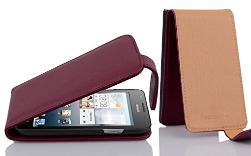 Cadorabo Hülle für Huawei Ascend G525 / G520 - Hülle in Bordeaux LILA – Handyhülle aus Strukturiertem Kunstleder im Flip Design - Case Cover Schutzhülle Etui Tasche