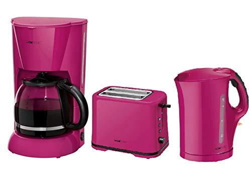 Clatronic Frühstücks-Set Frühstücksset Kaffeemaschine Toaster Wasserkocher brombeer