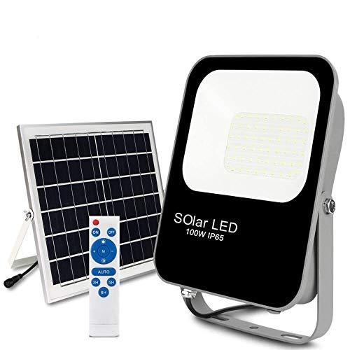 POPP®Foco Solar Exterior,lluminacion Solar,100W LED 6000K IP65 Impermeable,Lampara Solar para Jardin,Garaje,Acera,Escalera,Patios Terrazas[Clase de eficiencia energética A+++] (100 Watios)