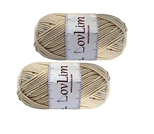 LovLim Yarn Pack, 2 skeins of 50g Each, Soft Cotton Yarn for Crochet and Knitting, Craft DK Amigurumi Yarn (Beige)