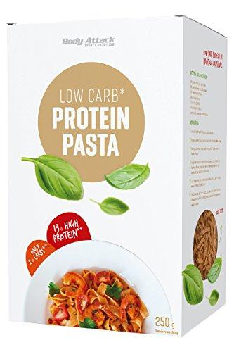 Body Attack Protein-Low-Carb-Pasta - 65g Protein auf 100g und nur 10g Kohlenhydrate (High Protein) - leckere Eiweiß Nudeln, inkl. gratis Kochrezept (auf der UVP.) Made in Germany (Protein Pasta, 250g)