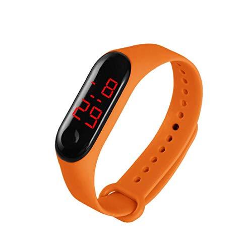 xiaocheng A Prueba de Agua Digital Inteligente Reloj de Pulsera Unisex LED Rojo con Correa de Cuero Creativo Reloj Deportivo Naranja Ornamentos Lindos