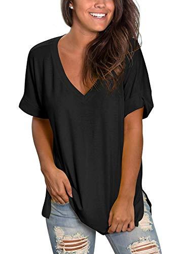 TEENSHOT - Camiseta casual de verano con cuello en V para mujer, laterales abiertos Negro 01-negro L