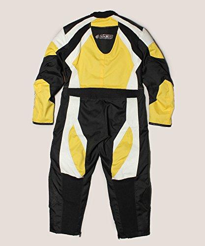 Zerimar KENROD Mono completo de motos para niños 100% piel Color negro/blanco/amarillo Talla 14
