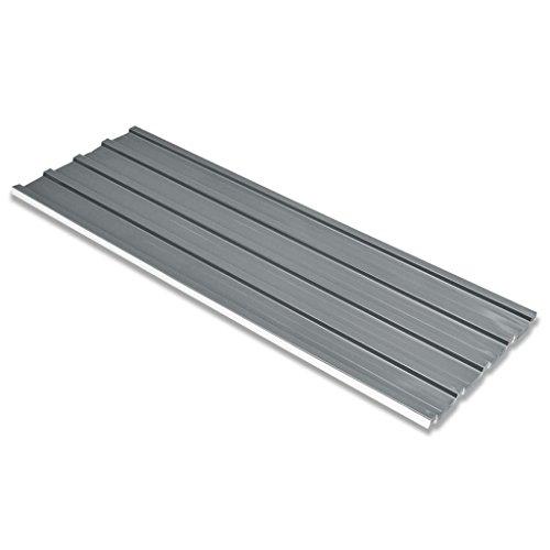 Festnight Dachblech Dachpaneele Wellblech aus Verzinkten Stahl 12 Stück Grau