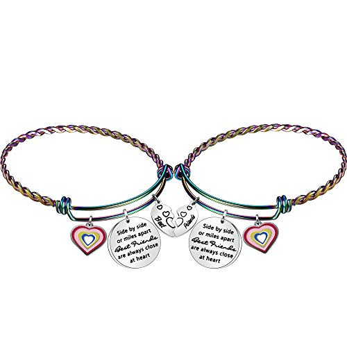 Angelra Bester Freund Armband für Mädchen Frauen Regenbogen Armreif Freundschaftsgeschenke nebeneinander oder Meilen auseinander Beste Freunde sind immer nah am Herzen