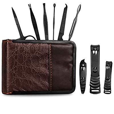 Manicure Set - Nail Kit - Pedicure Kit - Grooming Care Tools for Men and Women - Leather Travel Case with Fingernail Clippers, Toe Nails Clipper, and Nail File Buffer - Stainless Steel Tools