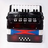 LGYKUMEG Mini-acordeón, acordeón niños (Mayores de 6 años, 17 Teclas de partituras, 8 Bajos, Correa de Hombro Ajustable),Negro