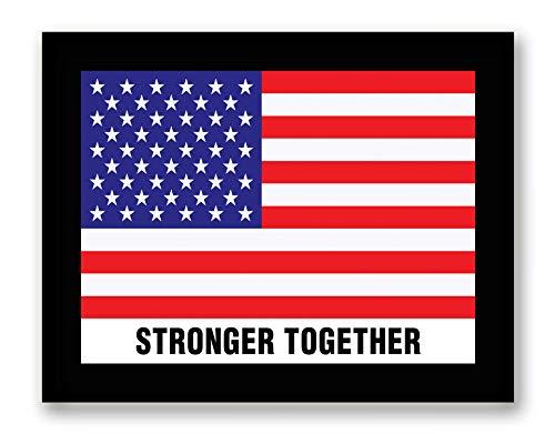 USA Flagge Stronger Together – Gerahmt – Flagge Dekor Leinwand Druck Home Decor Wandkunst Schwarzer Echtholzrahmen 7 x 9