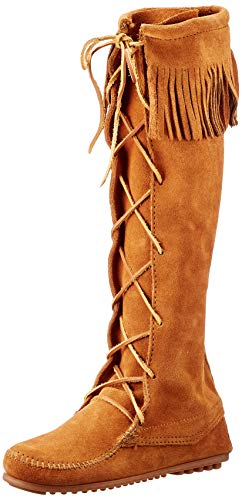 Minnetonka Damen Front Lace Knee High Boot Mokassin Stiefel, Braun (Brown 2), 36 EU