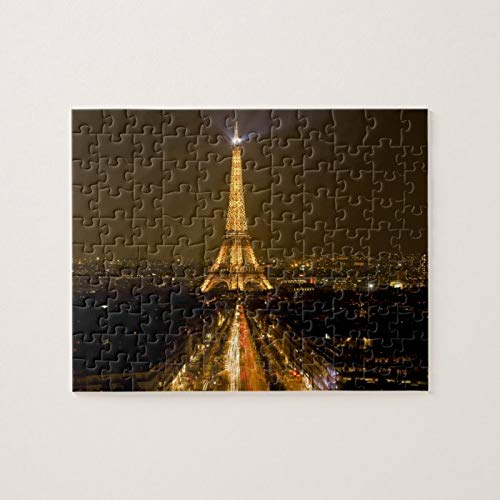 Scott397House Jigsaw Puzzles 1000 Pieces for Adults Large Piece Puzzle France, Paris. Nighttime View of Eiffel Tower Fun Game Toys Birthday Gifts Fit Together Perfectly