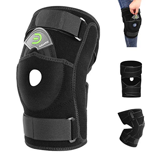 DISUPPO Hinged Knee Brace Support Women Men, Adjustable Open Patella Stabilizer for Sports Trauma, Sprains, Arthritis, ACL, Meniscus Tears, Ligament Injuries (Hinge Unremovable, M)
