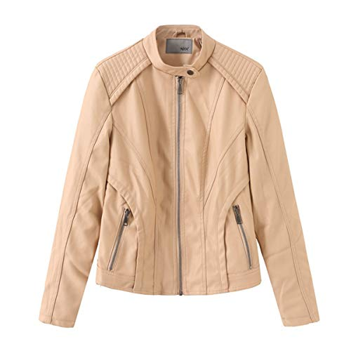 Hiser Kunstlederjacke Damen, Herbst und Winter Kurze Jacke Casual PU Lederjacke Bikerjacke mit Reißverschluss und Tasche (M,Beige)
