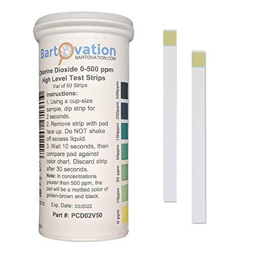 Chlordioxid-Einzelfaktor-Teststreifen, 0-500 ppm [Durchstechflasche mit 50 Streifen]