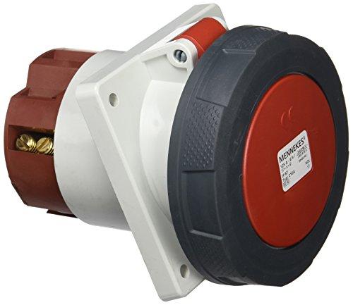 Mennekes 101100286Grundlagen Semi Einbauleuchte EWG, Steckdosen, 400V, 50–60Hz, 125A, 5-polig, IP 67, 110mm x 114mm Rahmen, 5, Rot