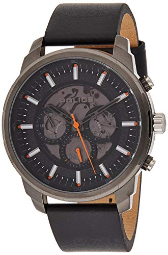 Police Unisex Erwachsene Analog Quarz Uhr mit Leder Armband PL15656JSU.02