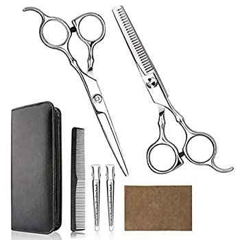 Hair Cutting Scissors Professional Home Haircutting Barber/Salon Thinning Shears Kit with Comb and Case for Men/Women  Sliver