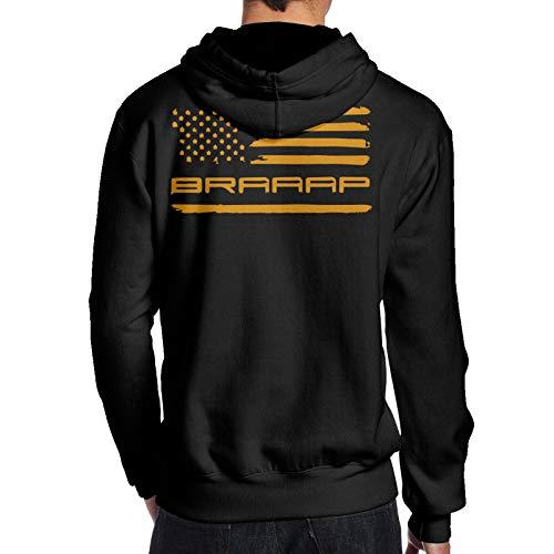 BMWEITIHBQ Men's Braaap Motocross Dirt Bike American Flag Pullover Hoodie Sport Outwear, Back Print Black