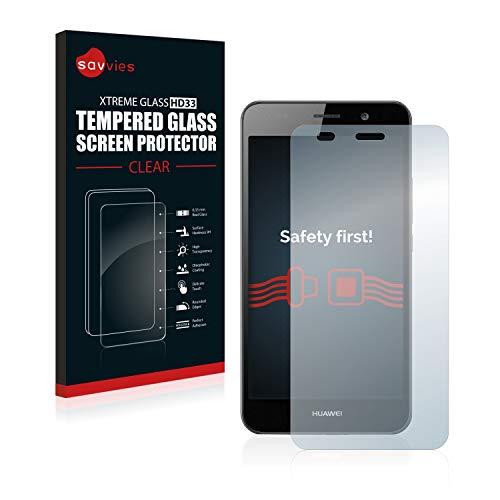 savvies Cristal Templado Compatible con Huawei Y6 2015 Protector Pantalla Vidrio Proteccion 9H Pelicula Anti-Huellas