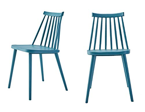 Stackable Modern Mid Century Nordic-style Plastic Chairs Set of 2 Side Dining Chairs for Office Lounge Garden Patio Outdoor Party Picnic Living Room Meeting Rooms (Blue)