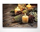 Weinachts-Bilder Kerzen - als 90x60cm großes Leinwand Wandbild. Perfekt als Hintergrund und Dekoration zu Weihnachten für Wohnzimmer & Schlafzimmer. Aufgespannt auf 2cm Holzrahmen