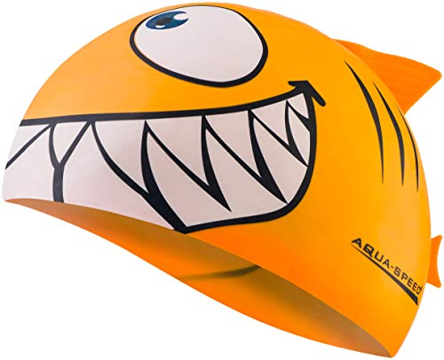 Aqua Speed Shark Gorro de natación + Toalla de Microfibra | niños | Gorras de baño Divertidos| tiburón | Silicona | Tiburón/Naranja 75