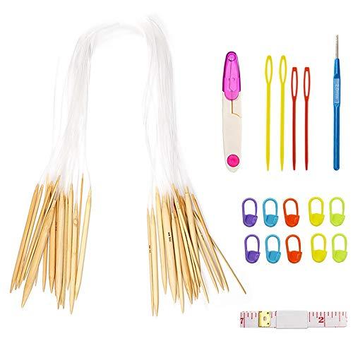 Aweisile 18 Par Agujas Circulares Intercambiables Kit Agujas de Tejer Ganchos de Ganchillo Agujas de Bambú con Tubo Transparente con 18 Herramientas de Tejer Apto para principiantes y profesionales