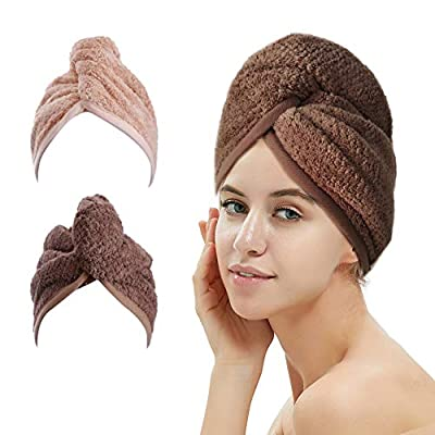 M-bestl 2 Pack Hair Towel Wrap ,Hair Drying Towel with Buttons, Microfiber Hair Towel
