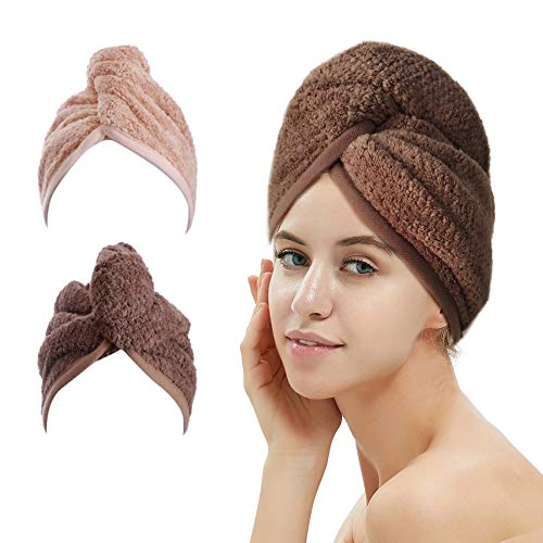 2 Pack Hair Drying Towels, Hair Wrap Towels, Super Absorbent Microfiber Hair Towel Turban with...