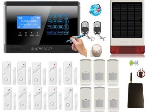 Mapishop CLARENCE Allarme Casa Kit nuovo modello 2020, Con INTERNET wifi , e MODULO ANTI-JAMMER , COMPLETAMENTE CONFIGURATO (CLAR 3solar )