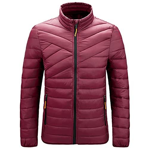 URIBAKY - Giacca da moto imbottita in cotone, per autunno e inverno, taglia grande, rosso, L
