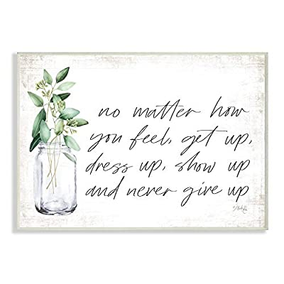 Stupell Industries No Matter How You Feel Never Give Up Inspirational Plants in Mason Jar