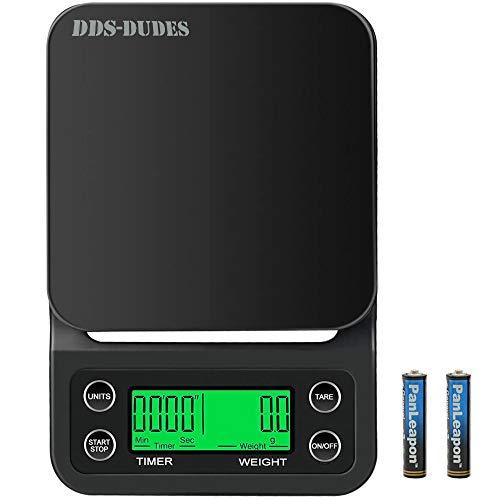DDS-DUDES Balanzas de café con temporizador y pantalla LCD (3 kg, 0,1 g) Alimentos de cocina digital de alta precisión Báscula de pesaje para hornear y cocinar