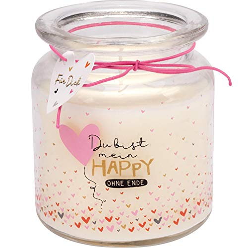 H:)PPY life 46724 Kerze im Glas, Glas mit Spruch Du bist Mein Happy ohne Ende, Kerze mit Vanille-Duft