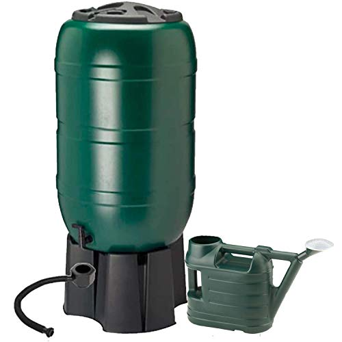 Dawsons Living 210 Litre Garden Water Butt Set - Including Tap with Filler Kit and Filling Stand - Tight Fitting Lid - With 6.5 Litre Watering Can