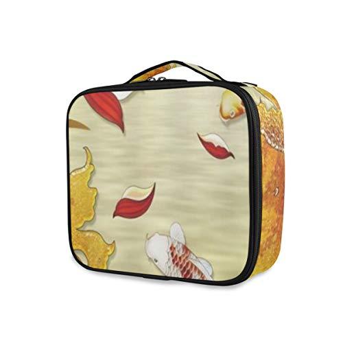 SUGARHE Décoration Asiatique Koi Rouge Japon Hibiscus Fleur Pivoine Bloom Or rétro Art,Sac cosmétique Multifonctionnel La beauté