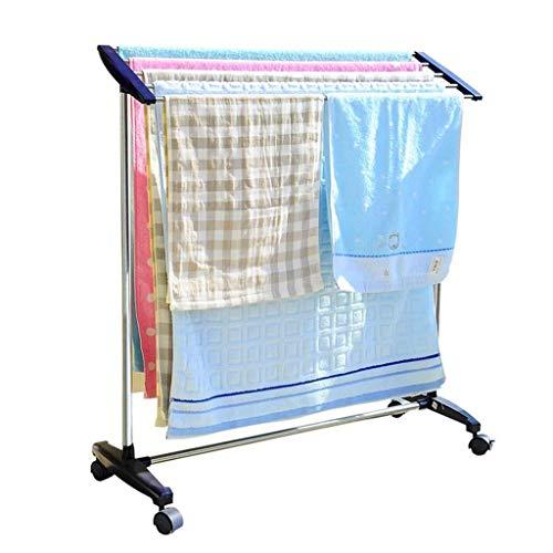Perchero- Multifunción tendedero movible de acero inoxidable de lavandería secado Panel de percha seco Carril de toalla for interiores o exteriores 5 riel de la barra 83x32x89cm soporte con ruedas