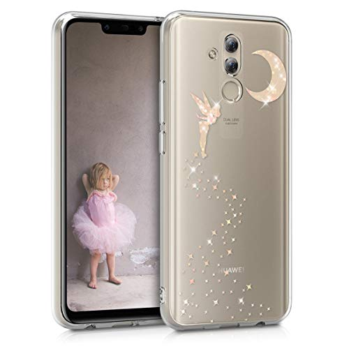 kwmobile Hülle kompatibel mit Huawei Mate 20 Lite - Handyhülle - Handy Case Fee Glitzer Rosegold Transparent